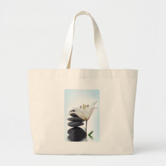 Lily and Black Stone Rocks Tote Bags