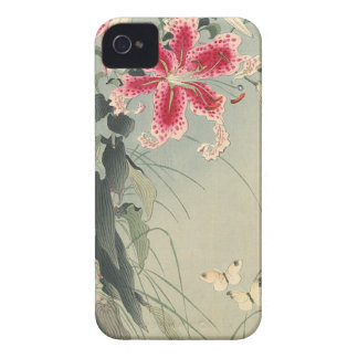Lily and Butterflies by Ohara Koson iPhone 4 Case-Mate Case
