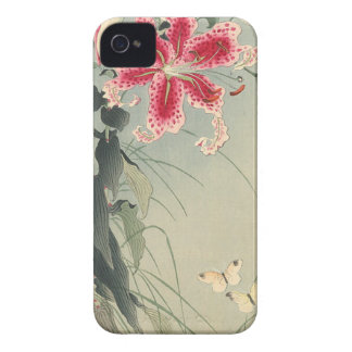 Lily and Butterflies by Ohara Koson Blackberry Cases