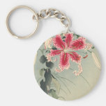 Lily and Butterflies by Ohara Koson Keychain