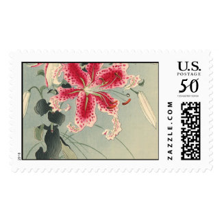 Lily and Butterflies by Ohara Koson Postage