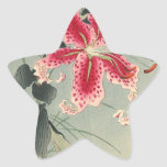 Lily and Butterflies by Ohara Koson Star Sticker