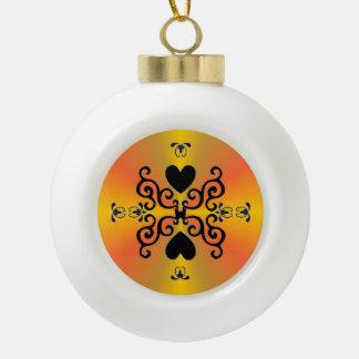 Lily and Heart Fantasy Rainbowart Ceramic Ball Christmas Ornament