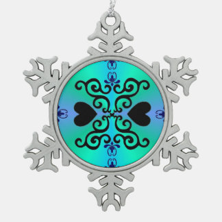 Lily and Heart Fantasy Rainbowart Snowflake Pewter Christmas Ornament