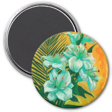 Art Themed Lily and Palm, floral art, white, yelllow & green Magnet
