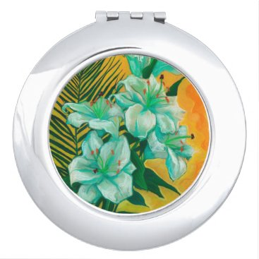 Art Themed Lily and Palm, floral art, white, yelllow & green Makeup Mirror