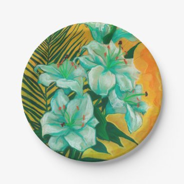 Art Themed Lily and Palm, floral art, white, yelllow & green Paper Plate
