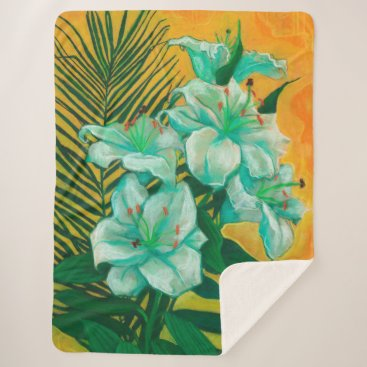 Art Themed Lily and Palm, floral art, white, yelllow & green Sherpa Blanket