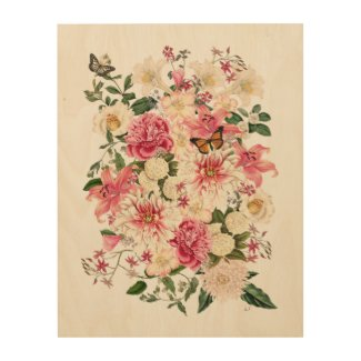 Lily and Peony Pink Garden Bouquet Wood Wall Art