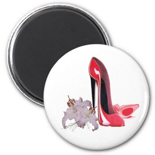 Lily and Red Stiletto Shoes Refrigerator Magnets