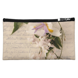 lily and vine on script cosmetic bag