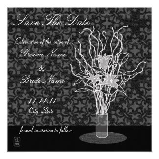 Lily Arrangement Save The Date Invitation