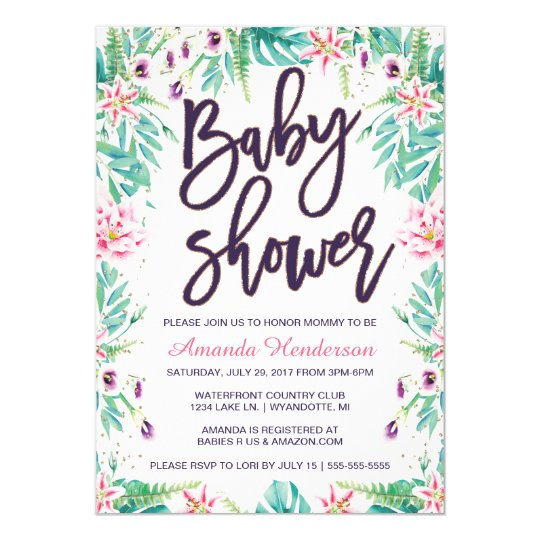 Lily Baby Shower Invitation Floral Baby Shower Zazzle