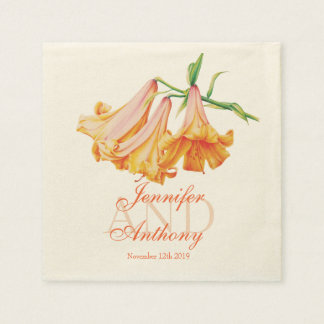 Lily bell fine art name wedding date paper napkin