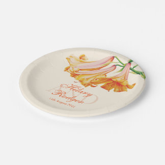 Lily bell floral art wedding party plates