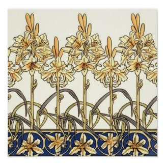 Lily Border by Alphonse Mucha Poster