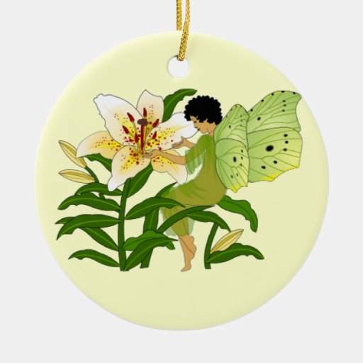 Lily Fairy Double-Sided Ceramic Round Christmas Ornament