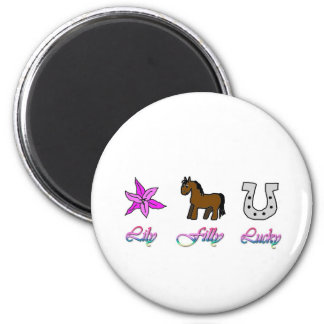 Lily Filly Lucky 2 Inch Round Magnet