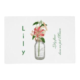 Lily fleur dans un pot Mason Placemat