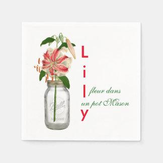 Lily fleur dans un pot Mason Standard Cocktail Napkin
