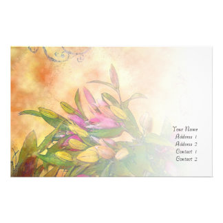 Lily Floral Custom Stationery