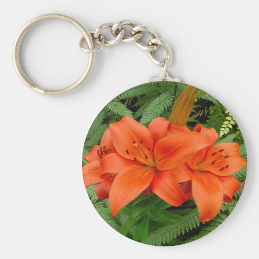 Lily flower - Iridescent orange (Matt 28-30) Basic Round Button Keychain