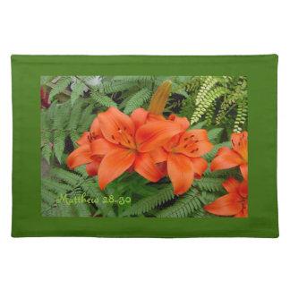 Lily flower - Iridescent orange (Matt 28-30) Place Mats