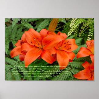 Lily flower - Iridescent orange (Matt 28-30) Print