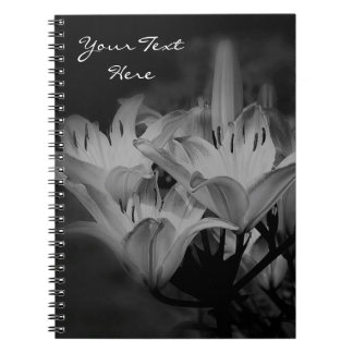 Lily Flowers In Black And White Spiral Notebook
