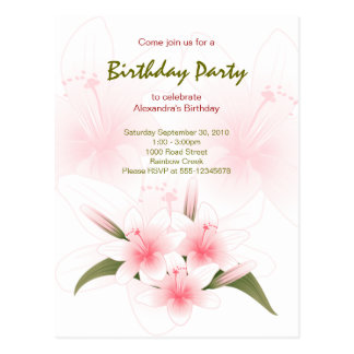 Lily Garden Birthday Party Invitation Postcard