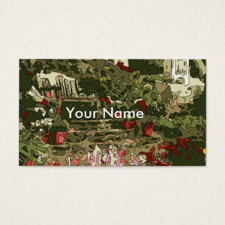 Lily Garden Pond with Flowers and Bench Business Card