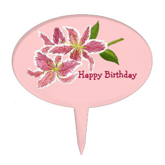 Lily Happy Birthday Cake Pick