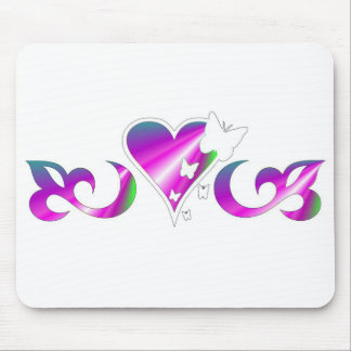 Lily Heart and Butterfy - rainbowart Mouse Pad