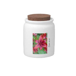Lily - Iridescent Red (Luke 12:15) Candy Jars