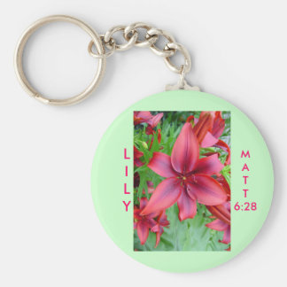 Lily - Iridescent Red (Luke 12:15) Keychain