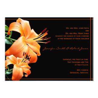 Lily Love: Orange Lily on Black Personalized Announcement