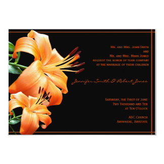 "Lily Love: Orange Lily on Black 5"" X 7"" Invitation Card"