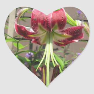Lily Maroon Green Flower Garden Heart Sticker