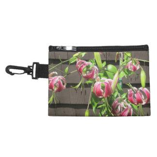 Lily Maroon Green Garden Flower Accessory Bag