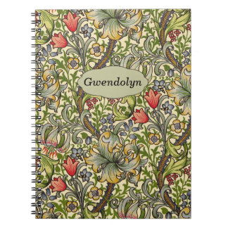 Lily Morris Vintage Floral Personalized Monogram Spiral Notebook