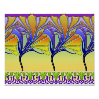 LILY NOUVEAU: BRIGHT SPRING GLASS POSTER