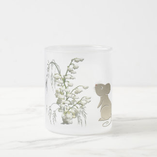 Lily of the Valley and cute mouse art 10 Oz Frosted Glass Coffee Mug