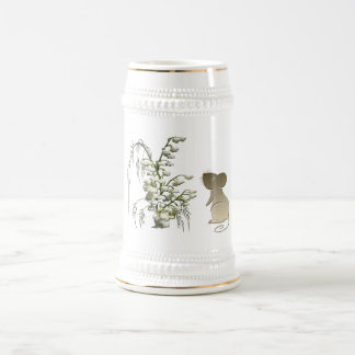 Lily of the Valley and Cute Mouse art Beer Stein