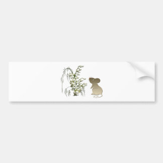 Lily of the Valley and Cute Mouse art Bumper Sticker