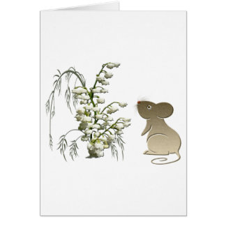 Lily of the Valley and Cute Mouse art Greeting Card