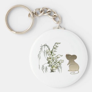 Lily of the Valley and Cute Mouse art Keychain
