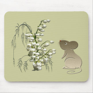 Lily of the Valley and cute mouse art Mouse Pads