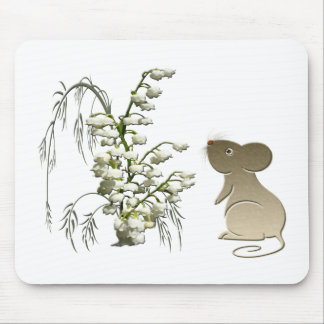Lily of the Valley and Cute Mouse art Mousemat