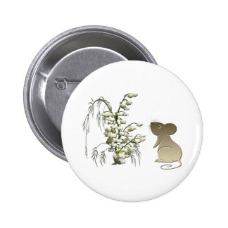 Lily of the Valley and cute mouse art Pinback Button