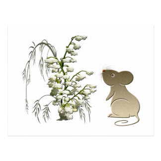 Lily of the Valley and Cute Mouse art Postcard